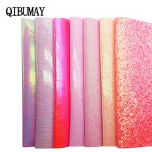 QIBU розовая массивная блестящая искусственная кожа листы мульти материалы для банта аксессуары DIY виниловая ткань для обуви сумка синтетическая ткань