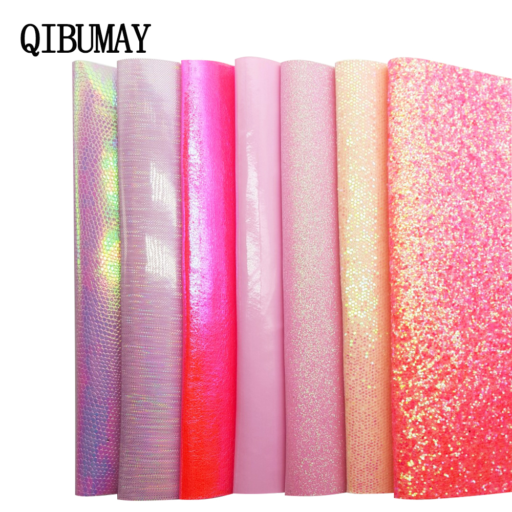 Candy Pink Chunky Glitter Fabric Sparkly Vinyl Taped Backed Material Decor 54/""
