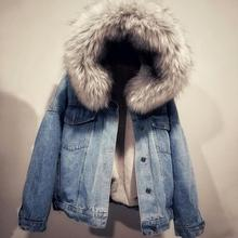 купить Fashion Women Faux Fur Wool Hooded Autumn Winter Warm Thick Jean Jacket Outwear Coat Femme Casual Loose Fleece Denim Chaqueta по цене 2147.38 рублей