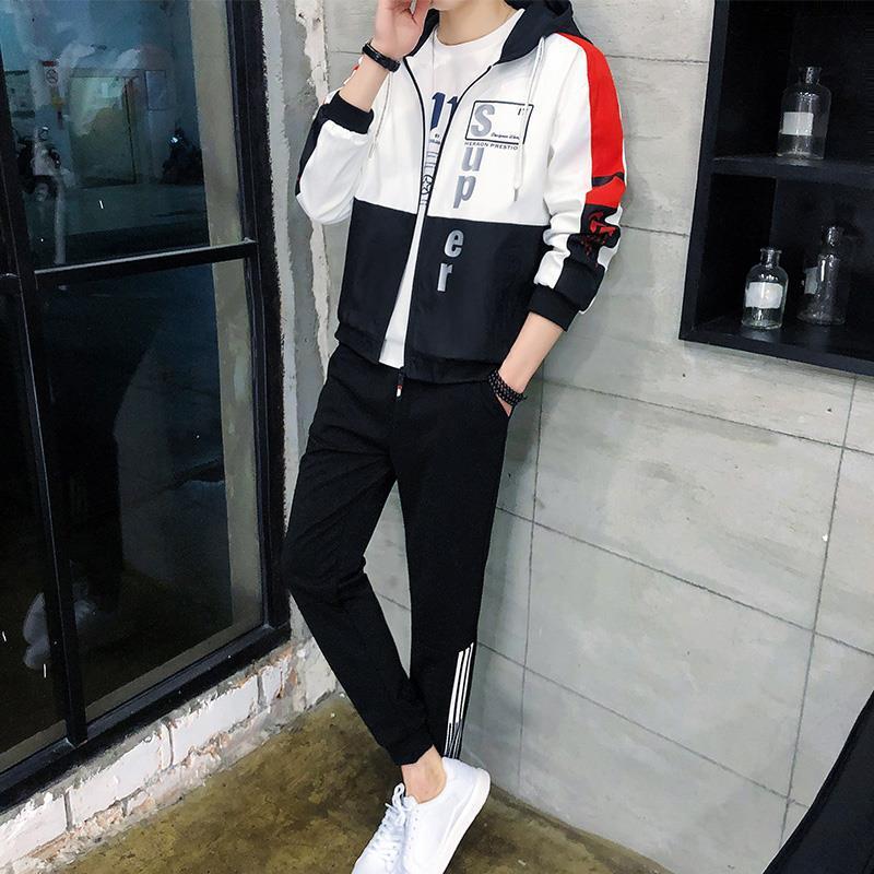 2019 Autumn New Style Men's Leisure Sports Suit Korean-style Fashion Hooded Cardigan Jacket Two Piece Set Fashion