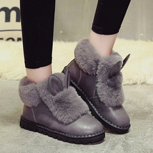 Women's Shoes Snow Boots Rabbit Fur Flat Casual Shoes Ankle Fashion Cotton Short Boots 2020 Winter New Plus Velvet To Keep Warm mycolen new fashion keep warm cotton ankle boots autumn winter motorcycle boots snow men shoes with zipper erkek bot ayakkabi