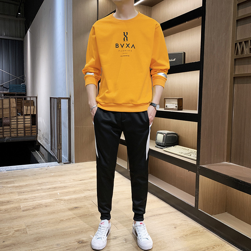 Casual Trend Two-Piece Set Men Hoodie Suit Crew Neck Simple Handsome Collocation 2019 Autumn Clothing Sports Coat Men's