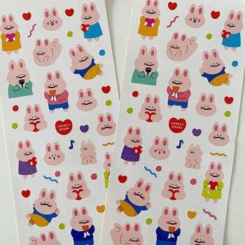 1 hoja de pegatina para álbum de recortes impermeable estilo coreano conejo cara grande tímido pegatina para álbum de recortes DIY etiqueta diaria pegatinas de decoración