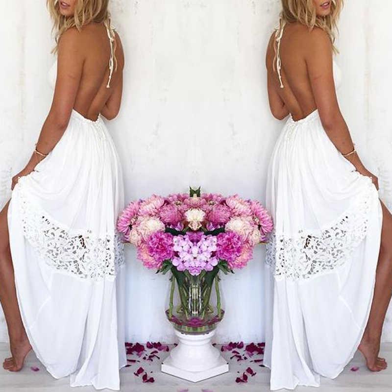 2019 ホット販売の女性のセクシーな Vestidos パーティードレスホワイトビーチ夏マキシロング中空アウトパッチワークサンドレスプラスサイズ