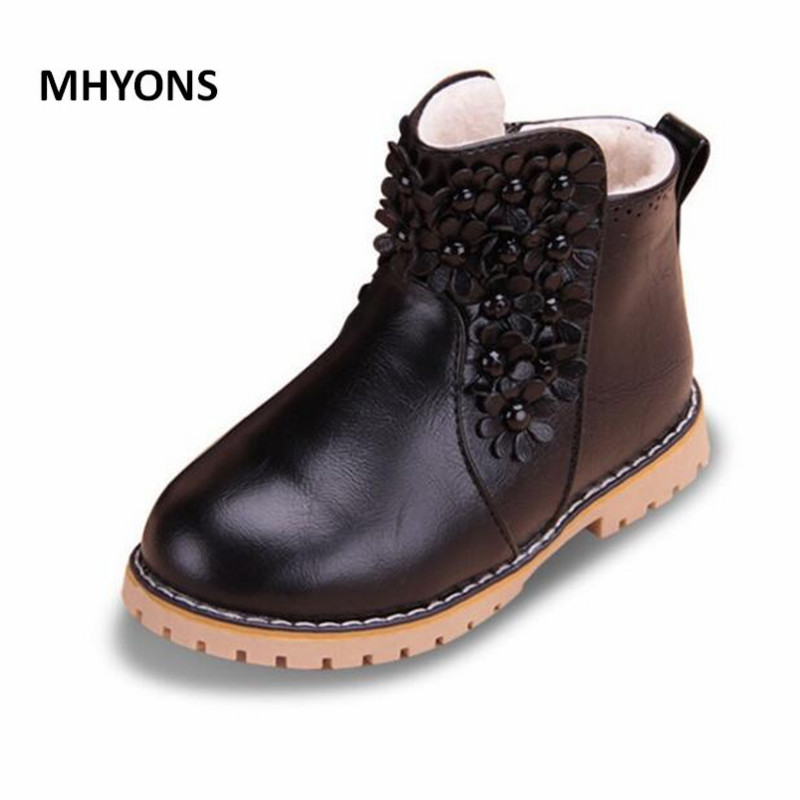 Spring Autumn Fashion Child Boots For Boys Girls Leather Boots Shoes Causal Flat Children Martin Boot Shoes 26-35 Kids Boot