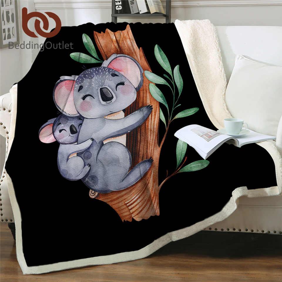BeddingOutlet Koala Famiglia Coperte e Plaid Coperta Fumetto Coperta di Peluche Albero di Eucalipto Foglia Soffice Coperta Acquerello Animale Bambini Mantas