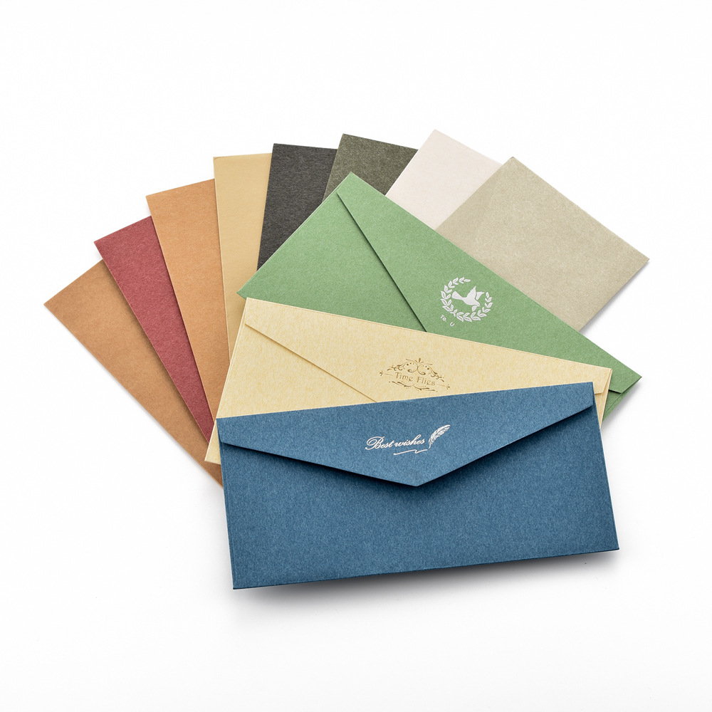 Envelope Retro Elegance Bronze Envelope Top Grade Business Invitation Decoration Blank No. 5 DL Envelope Thick