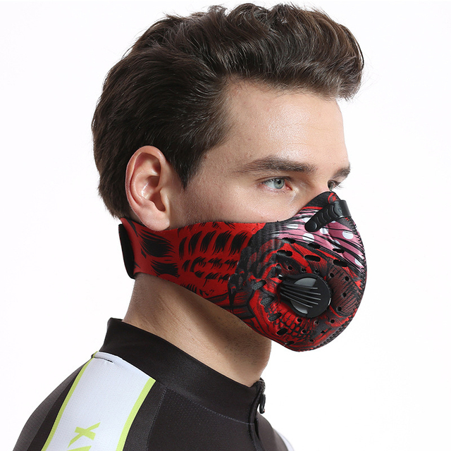 Activated Carbon Dust-proof Cycling Face Mask Men Women Anti-Pollution training Bicycle Bike Outdoor Running mask face shield 2