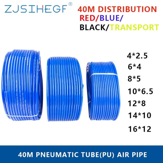 40 Meters Pneumatic Black Transport  OD 4/6/8/10/12/14/16mm ID 2.5/4/5/6.5/8/10/12mm Red Blue  Pu Pipe Air Tubing Hose  Filter