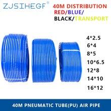 40 meter Pneumatische Schwarz Transport OD 4/6/8/10/12/14/16mm ID 2.5/4/5/6.5/8/10/12mm Rot Blau Pu Rohr Luft Schläuche Schlauch Filter