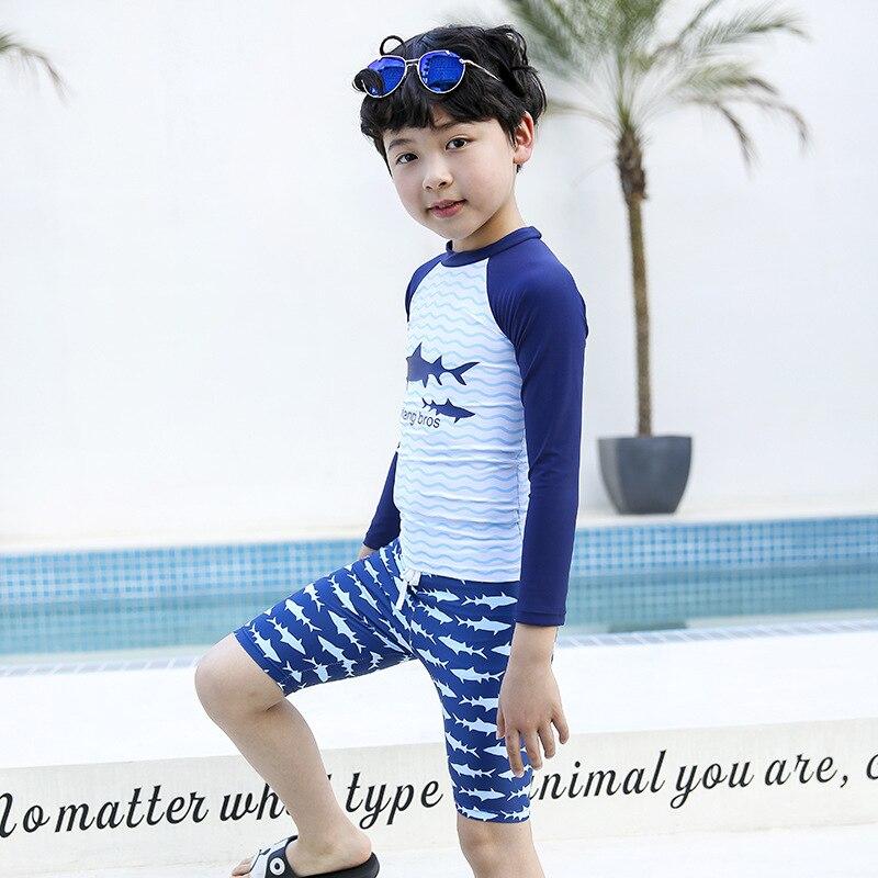 Boy CHILDREN'S Swimwear Cartoon Shark Long Sleeve Shorts Coat Quick-Dry Diving Suit Children Swimwear