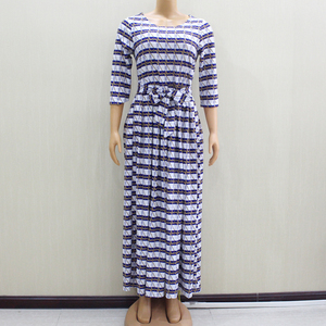 Image 1 - 2020 ファッションデザイン新着アフリカ Dashiki スリムでエレガントなカジュアルブルーレディースロングパーティーファッション女性ドレス