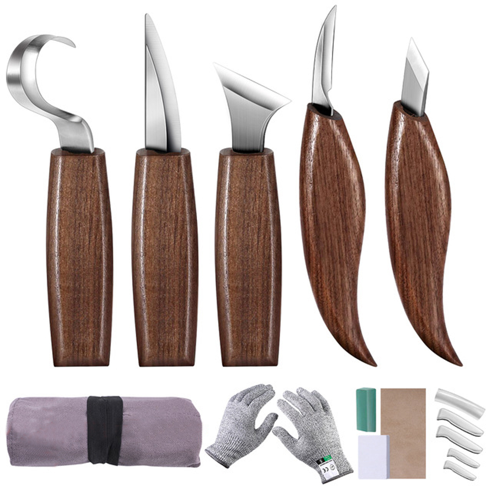 10/12pcs Chisel Woodworking Cutter Hand Tool Set Wood Carving Knife Diy Peeling Woodcarving Sculptural Spoon Carving Cutter