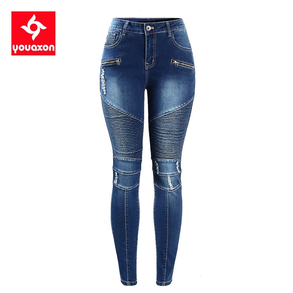 2077 Youaxon женские мотоциклетные байкерские джинсы на молнии со средней высокой талией, Стрейчевые джинсовые обтягивающие брюки, женские джинсы|pants bag|pants caprisjeans embroidery | АлиЭкспресс