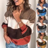Модный женский свитер в полоску, Осень-зима, свитер с круглым вырезом и длинным рукавом, Свободный вязаный пуловер в стиле пэчворк, свитер дл...