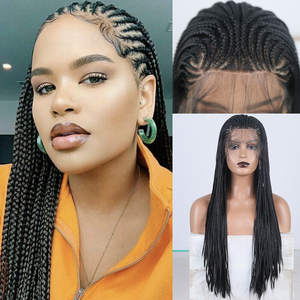 CharismaLong Braided Wig High Temperature Fiber Hair Synthetic Lace Front Wig Box Braids Synthtic Wigs forWomen Black Wigs