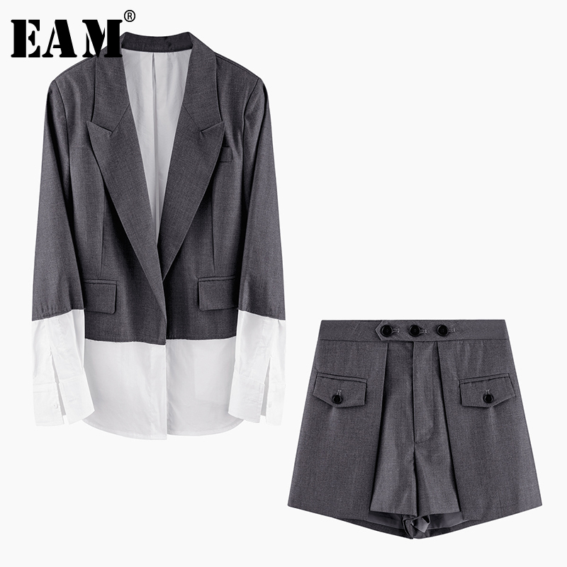 [EAM] 2020 New Spring Autumn Lapel Long Sleeve Gray Hit Color Loose Wide Leg Pants Two Piece Suit Women Fashion Tide JW010