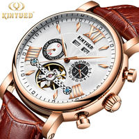 KINYUED Perpetual Calendar Watch Men Tourbillon Automatic Mechanical Mens Rose Gold Watches Leather Self Wind Relogio Masculino