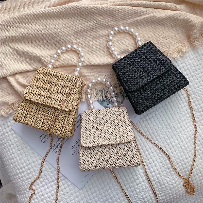 Wholesale Portable Small Square Bag Woman Bag Straw Woven Bag Rattan Woven Bag Leisure Crossbody Female Bag Hand Knitting