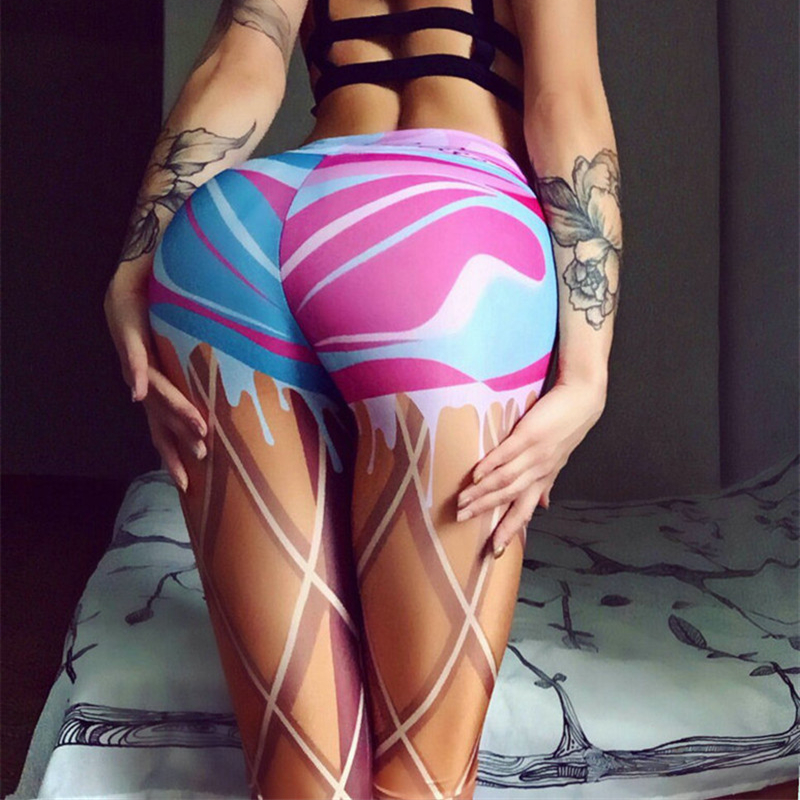 2019 New Leggings Women Sexy Printing Sports Leggngs Gym Fitness Leggings Slim Elastic Plus Size Pants Legins Jeggings O5A046