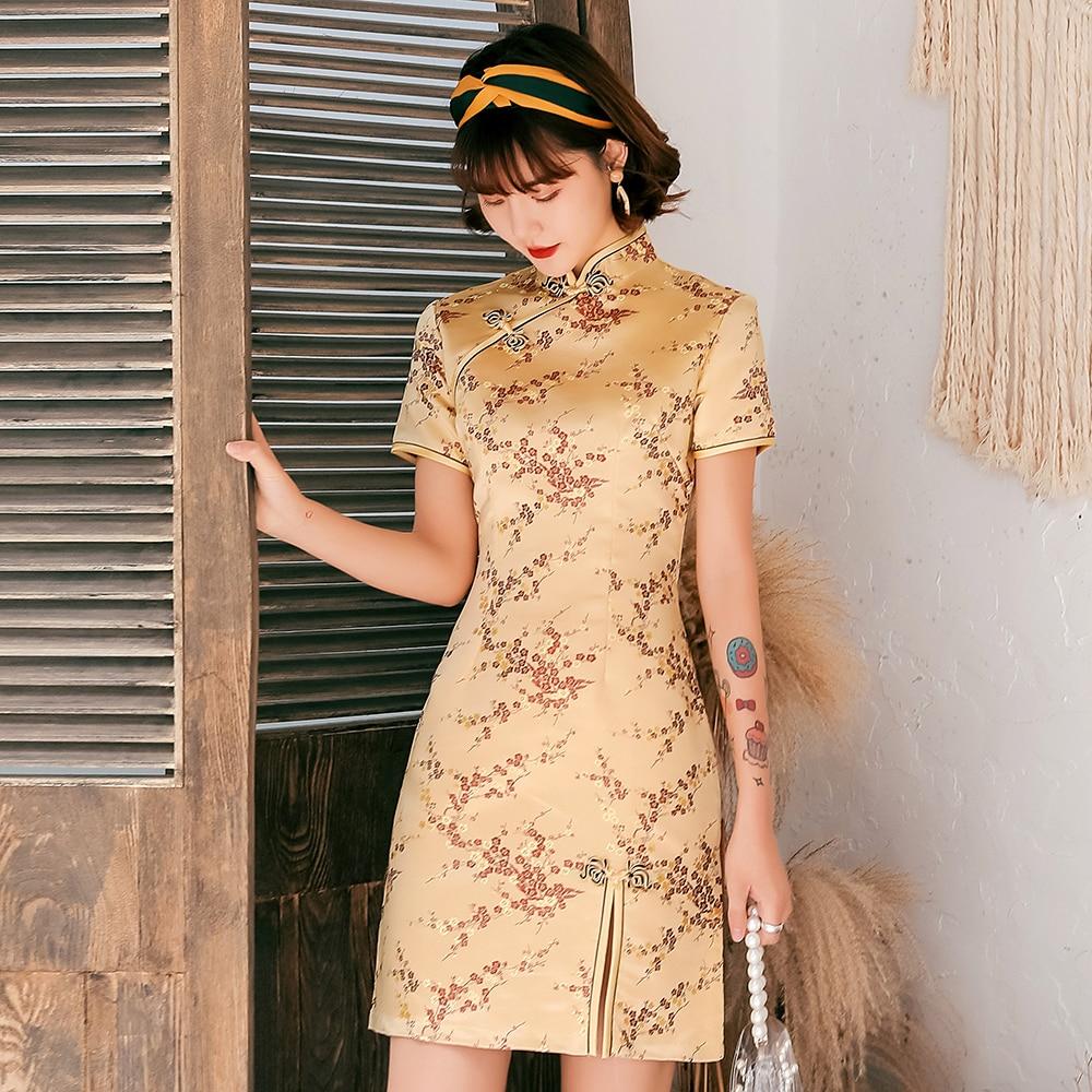 Female Qipao Mandarin Collar Short Cheongsam Vestidso Elegant Chinese Dress  Gold Flower Novelty Satin Evening Party Gown