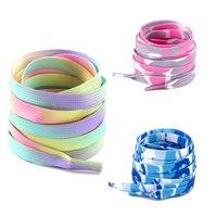 Cordones estampados a la moda para hombre y mujer, cordones planos para deportes al aire libre, color blanco degradado