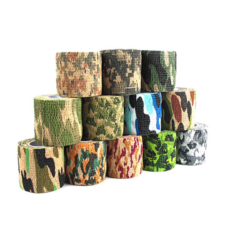 Outdoor Camouflage Tape Hunting Retaining Plastic Retractable Non-woven Tape Waterproof Cycling Hunting Hiking Camouflage Tape