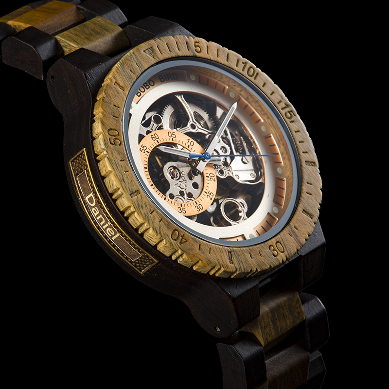 He9e59a1943e54541acb66c3e04695cf7s Personalized Customiz Watch Men BOBO BIRD Wood Automatic Watches Relogio Masculino OEM Anniversary Gifts for Him Free Engraving