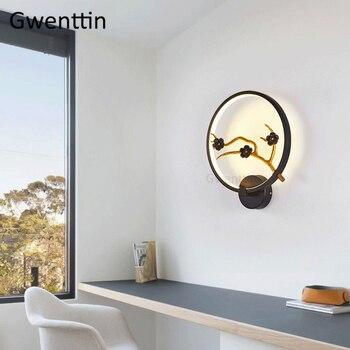 Винтажные круглые настенные светильники в китайском стиле для гостиной, спальни, лампы для птиц, светодиодные ретро настенные светильники, ...