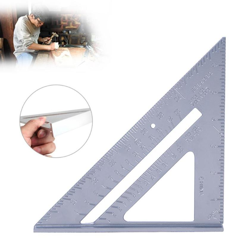 7in Aluminum Alloy Measuring Ruler Speed Square Roofing Triangle Angle Protractor Trammel Measuring Tools For Carpenter Gauges