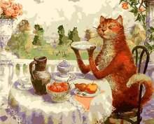 Картина по номерам «кот ест» «сделай сам»