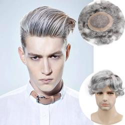Men's Toupee European Human Hair Replacement Wigs Mono Lace with PU Around 6x8 for Man 20% 1B Black Hair Mixed 80% Grey Color