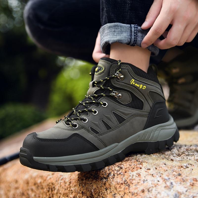 High-top Outdoor Men Hiking Shoes Waterproof Trekking Shoes Man Casual Warm Mountain Shoes Climbing Trail Sneakers Hunting Boots