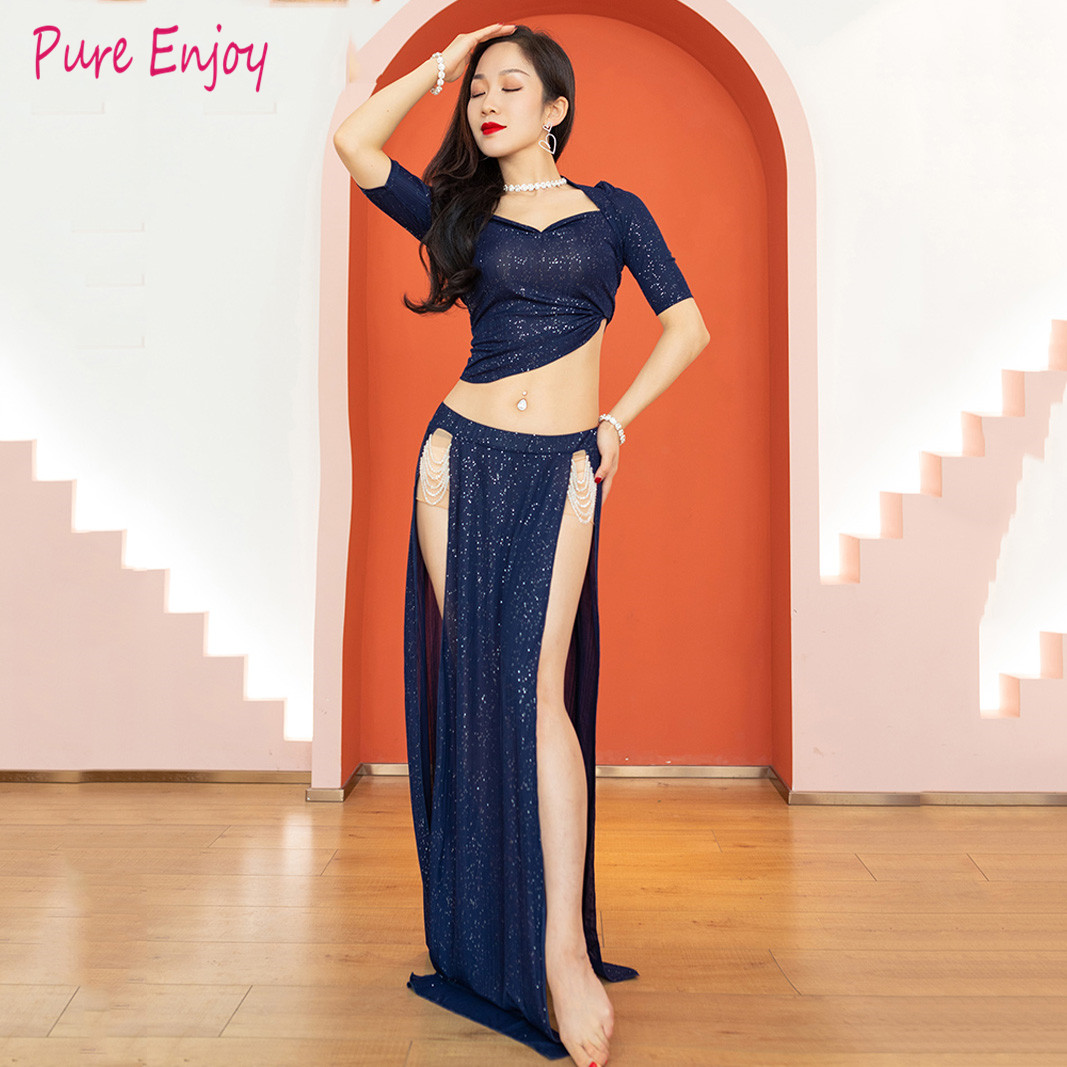 2020 New Bellydance Costume Hot Sale Woman Belly Dance Set Top &belly Dance Skirt Belly Dance Crystal Bead Dance Clothes