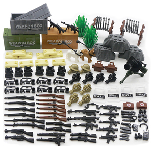 Locking Military Weapon Accessories For Figure Parts Building Blocks Army Soldier MOC Bricks SWAT Police Gun Assemble Model Toys