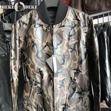 Mens Camouflage Bomber Jacket Streetwear Casual Loose Fit Coat Fashion Genuine Leather Jackets Male Tops Autumn Biker Outerwear(China)
