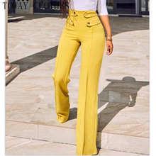 Pantalon à jambes larges pour femmes, Streetwear uni, taille haute, élégant, avec cordon de serrage, fendu, plat, pleine longueur, automne