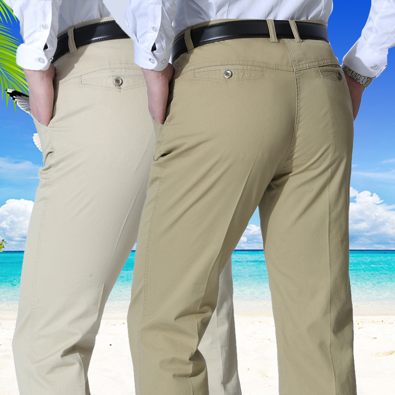 2020 New Casual Men Suit Pants Cotton Loose Office High Waist Straight Trousers Fashion Business Classic Pants Men Plus Size 40