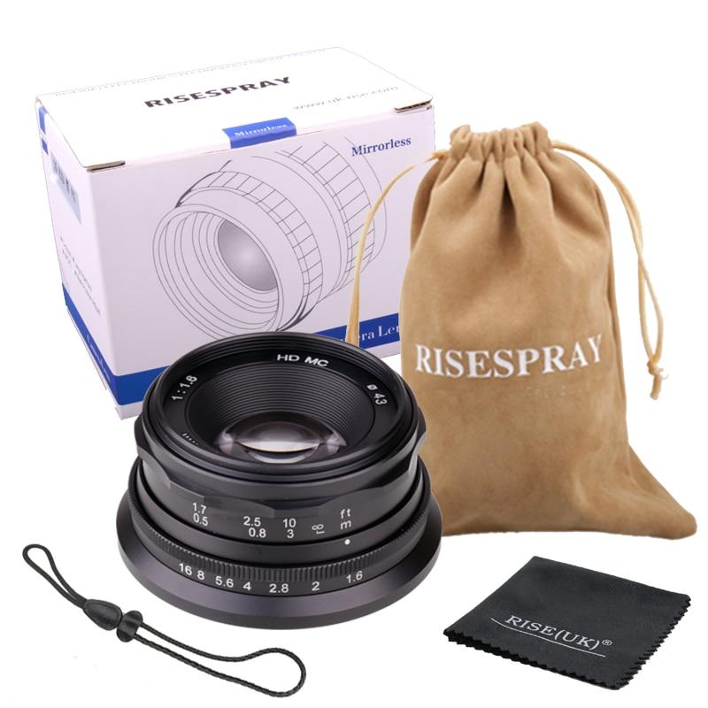 RISESPRAY MINI 35MM F1.6 Camera lens APS C Manual Fixed Lens For Canon EOS M Mount E Mount Fuji FX Mount Macro4/3 Hot Sale