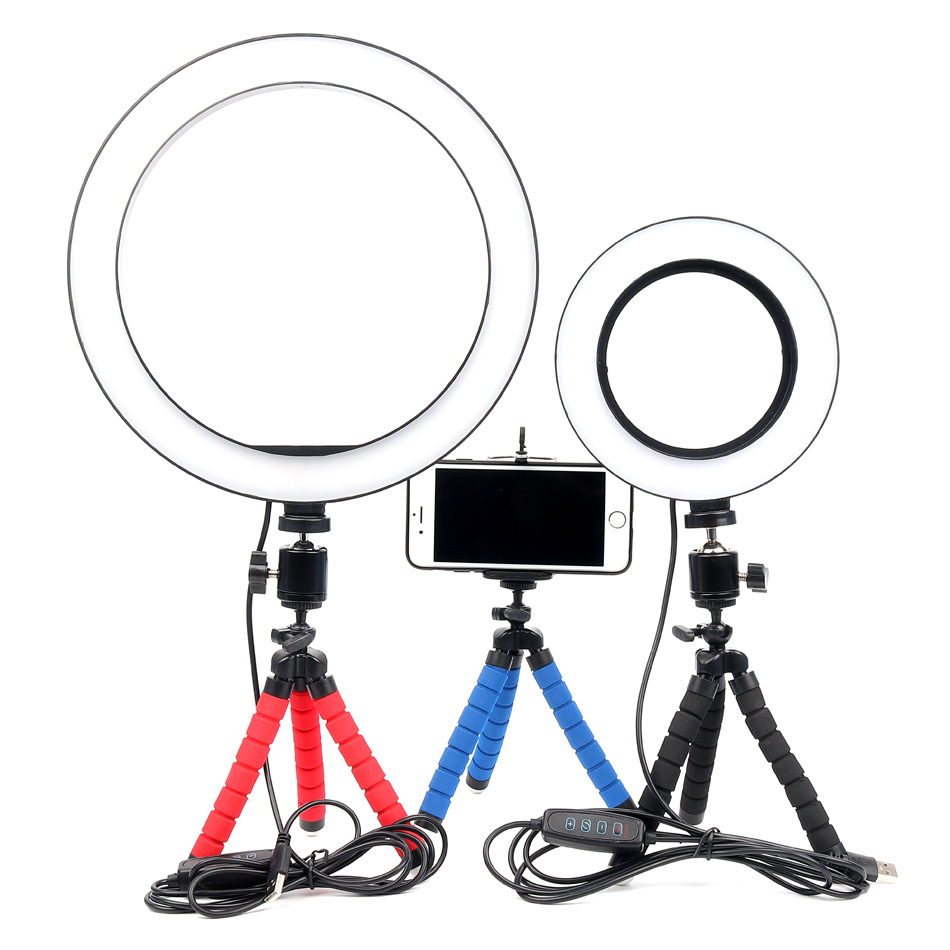 6 10inch Dimmable LED Selfie Ring Light Youtube Photography tiktok Video With MiNi Tripod for phone live streaming Ring Lamp
