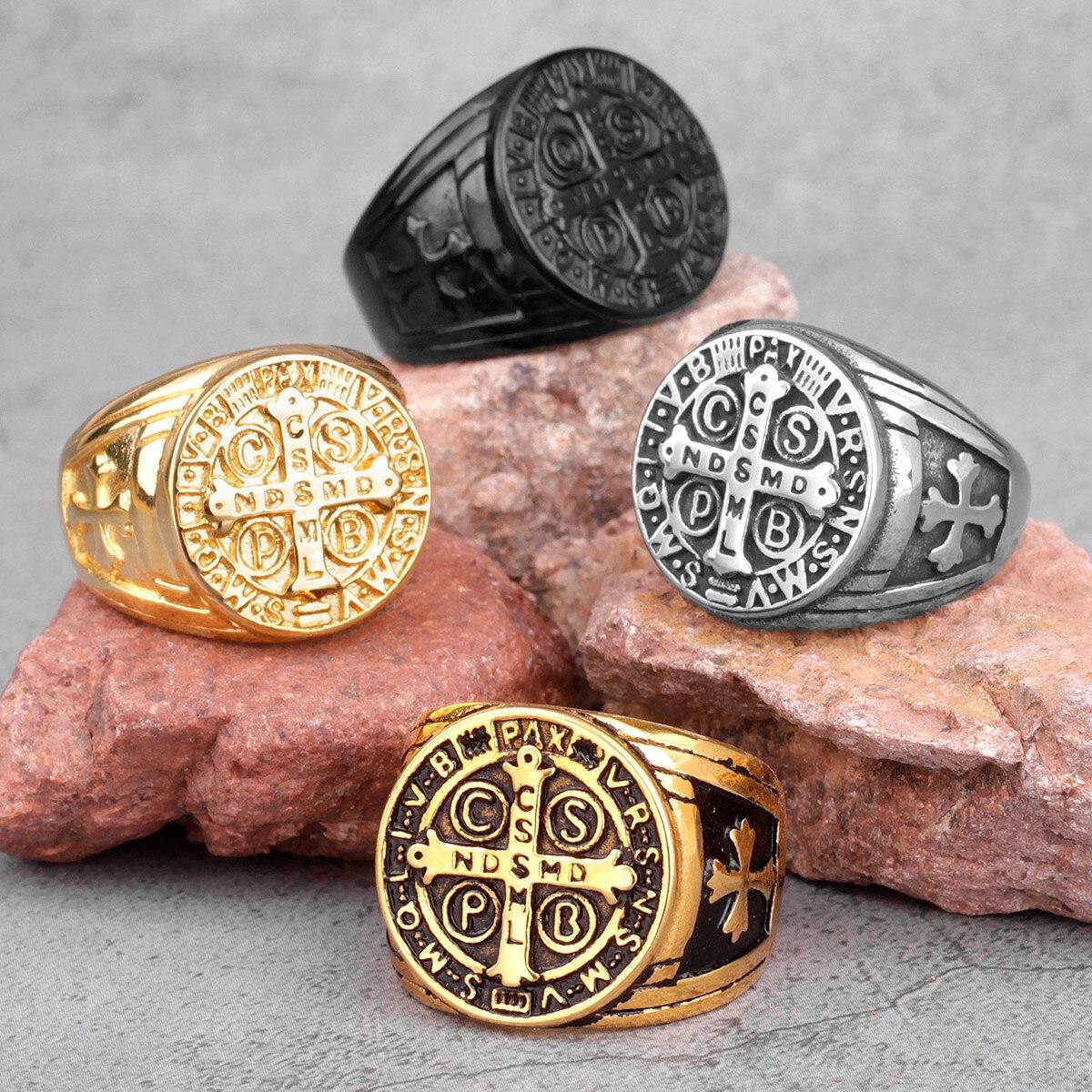 Мужские кольца в стиле панк, ювелирные изделия из нержавеющей стали с изображением золотого черного Креста, в стиле хип-хоп, бойфренда, пода...