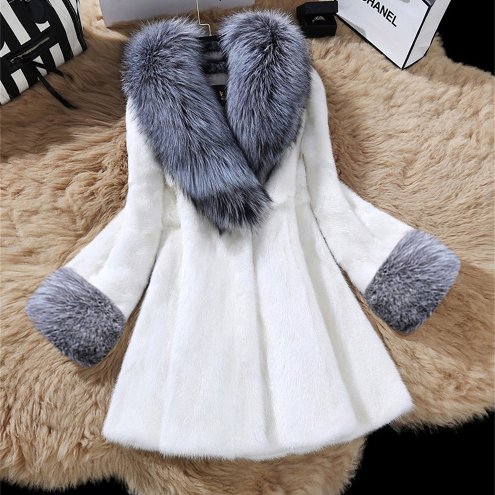 Thick Faux Fur Coats Large Size 4XL Imitation Mink Winter Luxury Female Fake Fox Fur Collar Slim Warm Coat New Women Warm Fur