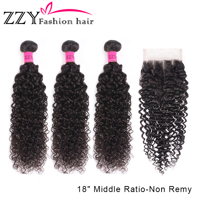 ZZY Fashion Hair  Brazilian Kinky Curly Hair Weave Bundles With Lace Closure Non-remy 3  Bundles With Closure 8-26inch