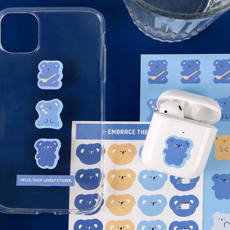 Journamm 56 adet Kawaii yapışkan telefon Deco için sevimli kırtasiye malzemeleri ayı çıkartmaları mermi günlüğü Scrapbooking etiket çıkartmaları