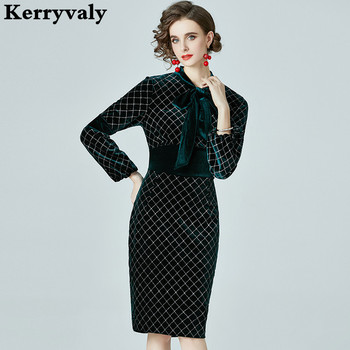 Winter Women Black Green Velvet Dress Vestidos Invierno 2021 Mujer Slim Long Sleeve Midi Office Robe Hiver Femme K521
