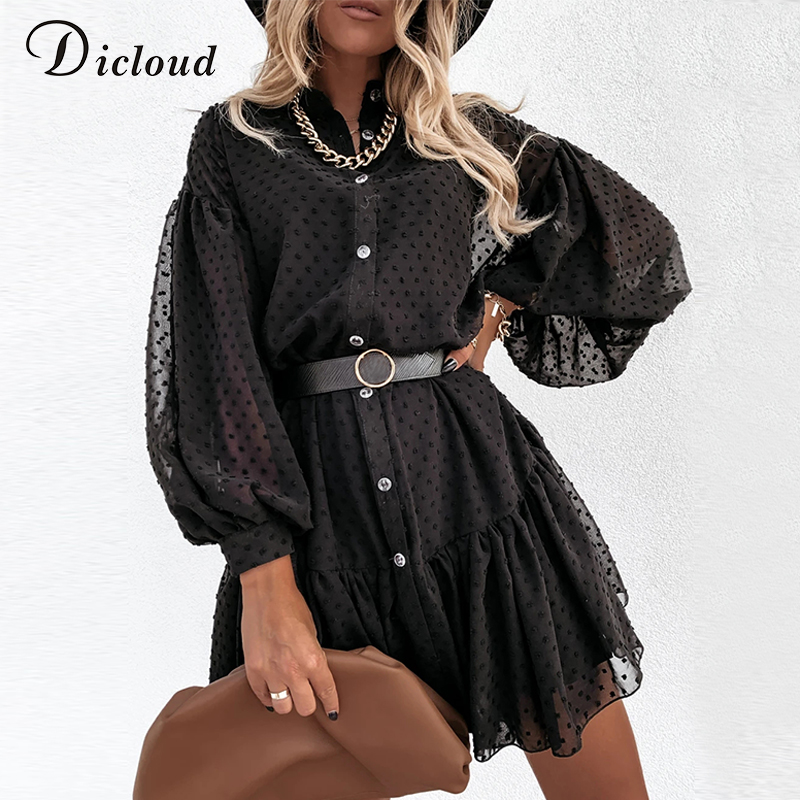 DICLOUD Elegant Black Dot Party Dresses Women Petticoat Long Sleeve Ruffle Ladies Mini Day Dress Female White Wedding Clothes