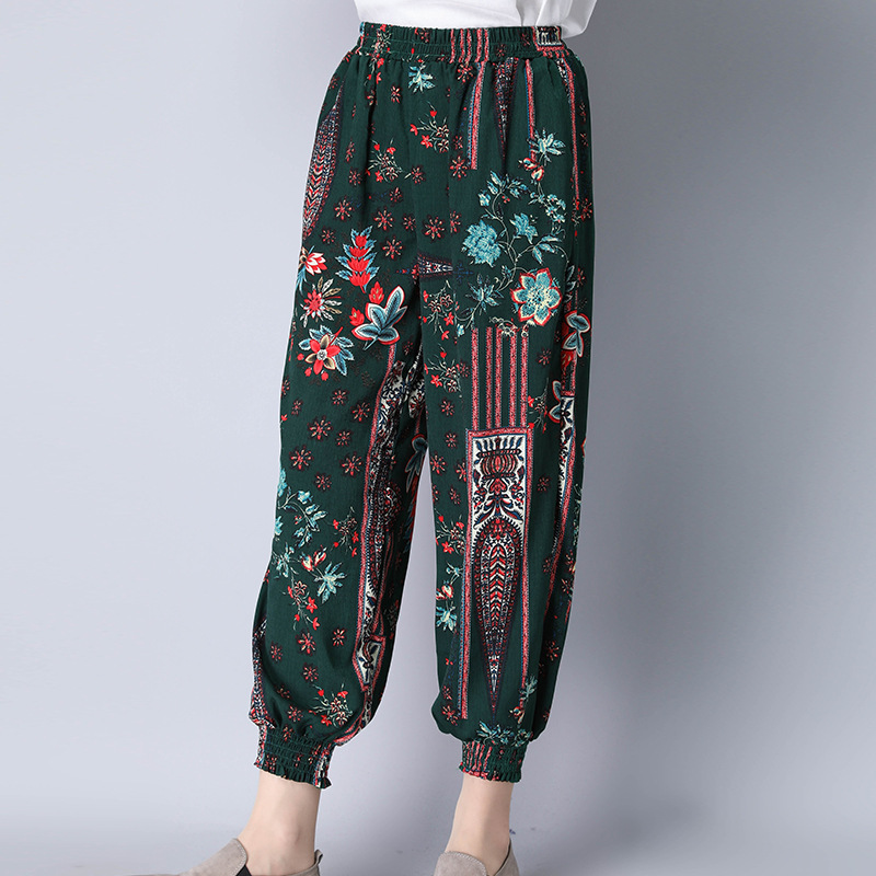 2019 Ethnic-Style Trousers Bohemian Printed Cotton Linen Women's Loose-Fit Harem Pants Thailand Flower