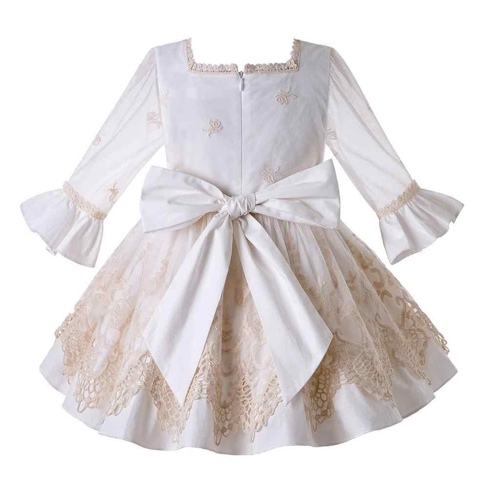 Pettigirl-robe de cérémonie fleurie pour filles | En dentelle, tenue de princesse, pour enfants, nouvelle collection 2020
