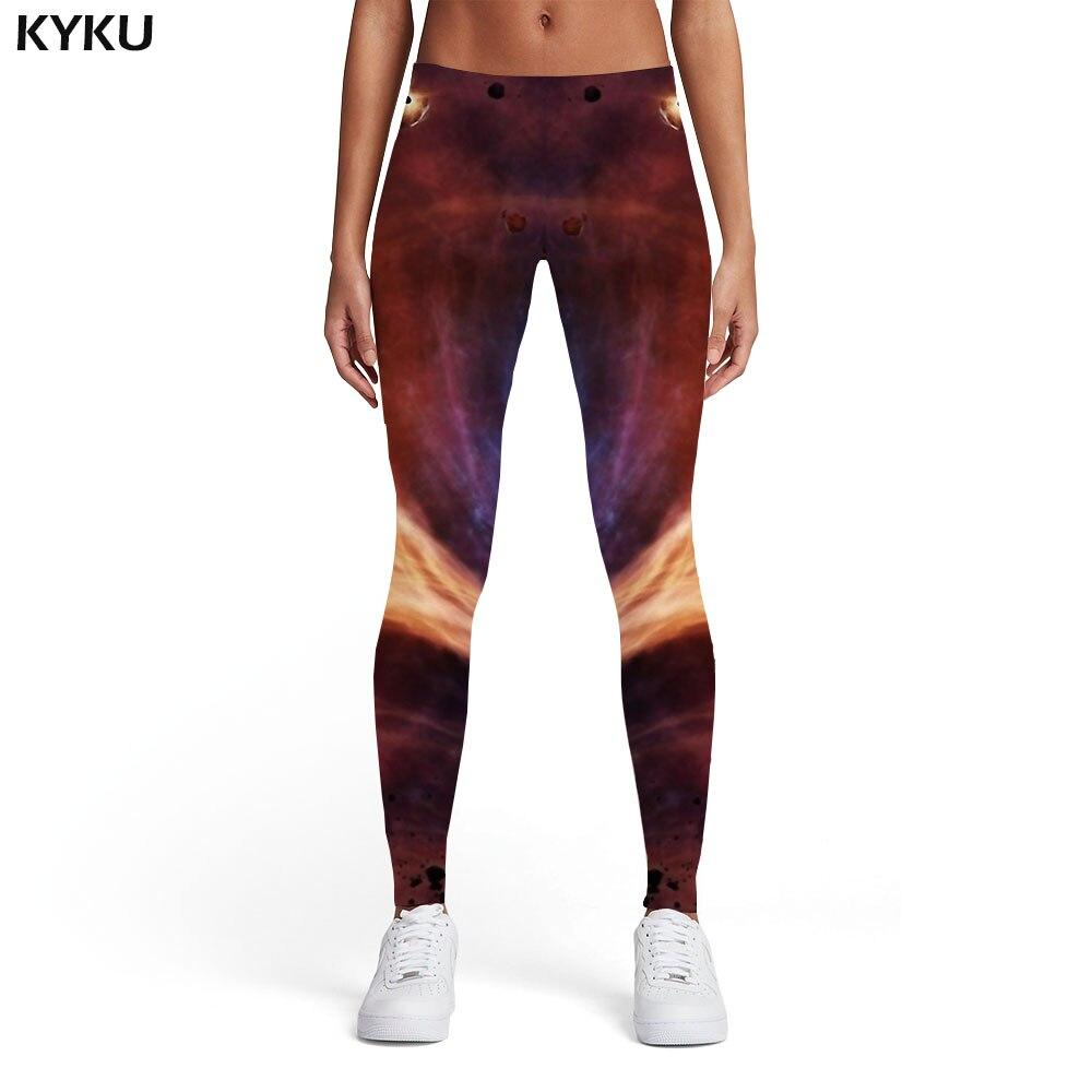 KYKU Galaxy Leggings Women Moon Sexy Psychedelic Printed Pants Flame Leggins Harajuku Ladies Womens Leggings Pants Jeggings