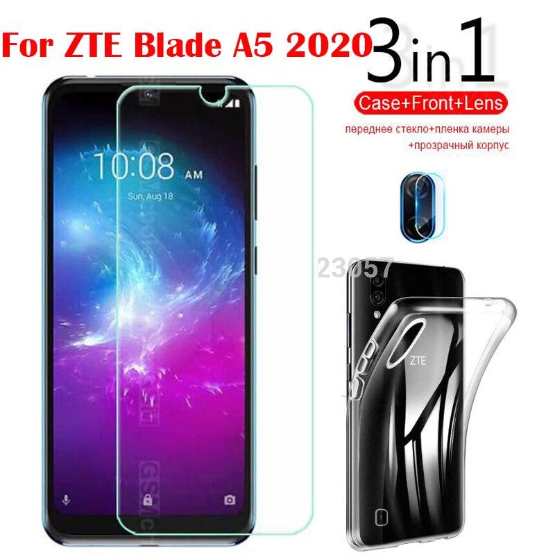 3 в 1 стекло + чехол для ZTE Blade A5 2020 защита для экрана закаленное стекло для ZTE Blade A5 2020 Защитное стекло для камеры|Бамперы|   | АлиЭкспресс